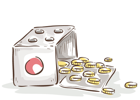 Illustration of an Open Die with Coins Inside. Lucky Money Concept