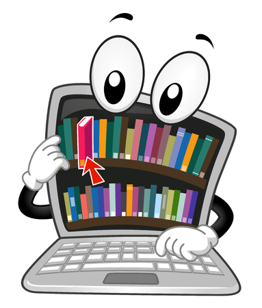 Illustration of a Laptop Mascot Borrowing a Book from a Digital Library Stock Photo