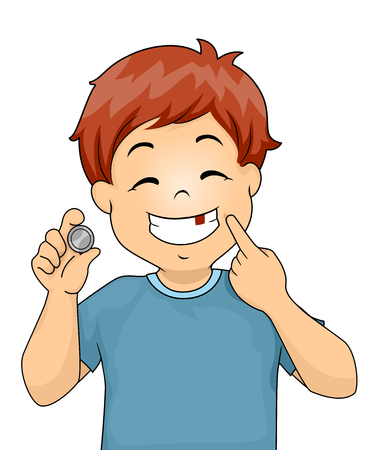 Illustration of a Kid Boy Holding a Coin and Showing a Missing Tooth Stock Photo