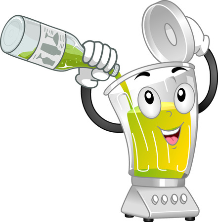 Illustration of a Blender Mascot Pouring Lime Juice to Make Mocktail Stok Fotoğraf