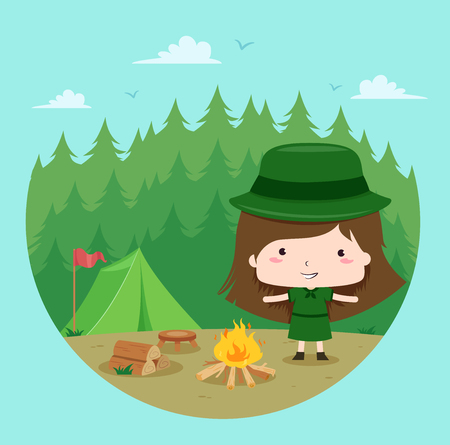 Illustration of a Kid Girl Scout Standing Beside a Bonfire Camping in the Forest