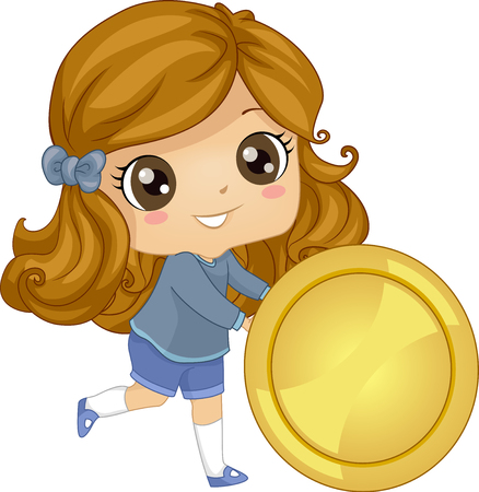 Illustration of a Kid Girl Rolling a Big Gold Coin