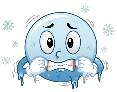 Illustration of a Blue Smiley Mascot Freezing in Cold surrounded by Snowflakes