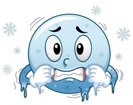 Illustratie van een Blue Smiley Mascotte Bevriezing in de koude omringd door sneeuwvlokken
