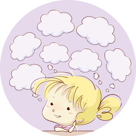 Illustration of a Kid Girl Thinking about Different Things. Blank Thinking Clouds Stock Photo
