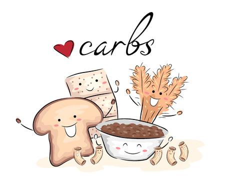 Illustrazione di carboidrati ricchi cibi come pane, pasta, cracker, grano e mazzette di riso