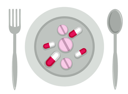 Illustration of Tablets and Capsules on a Plate with Spoon and Fork. Dietary Supplement Concept