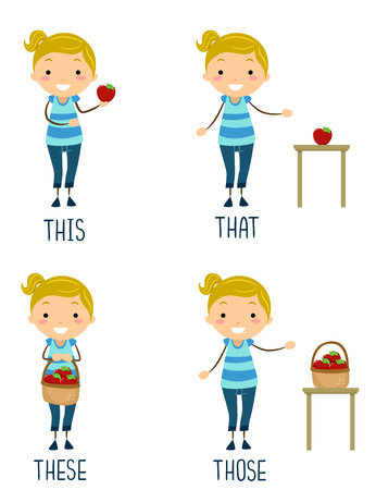 Illustration of a Stickman Kid Girl Presenting Different Pronouns. This, That, These and Those Archivio Fotografico