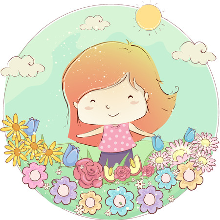 Illustration of a Kid Girl Outdoors Enjoying a Field of Flowers Under the Sun Stock Photo