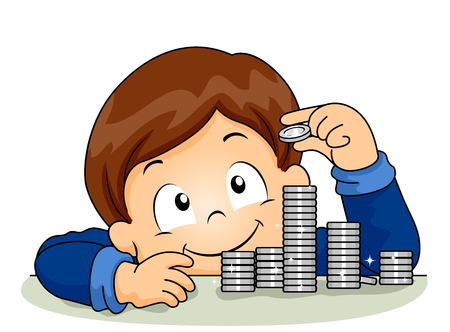 Illustration of a Kid Boy Happily Stacking Coins
