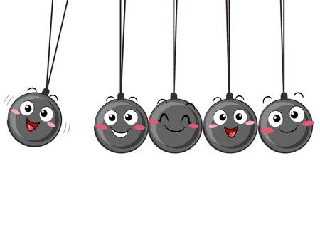 スイング 5 つの小さなボールのマスコットのイラスト。ニュートンのゆりかご。