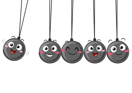Illustration of the Five Small Ball Mascots Swinging. A Newtons Cradle.