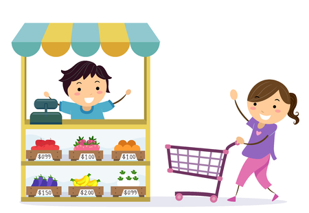 Illustration of Stickman Kids Playing Grocery. Girl Pushing a Shopping Cart Towards a Boy Selling Fruits Stock Photo