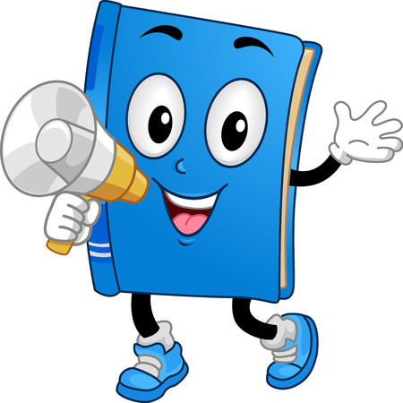 school: Illustration of a Book Mascot Holding a Megaphone for an Announcement
