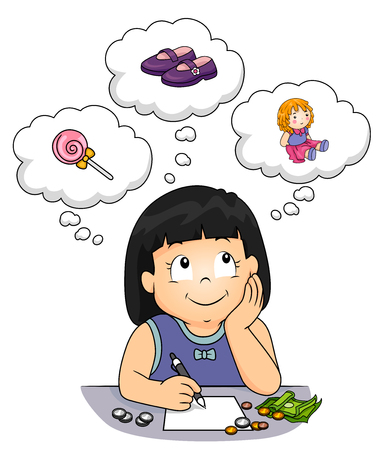 Illustration of a Kid Girl Writing Things to Buy with Her Money from Candies, Shoes to Toy Doll