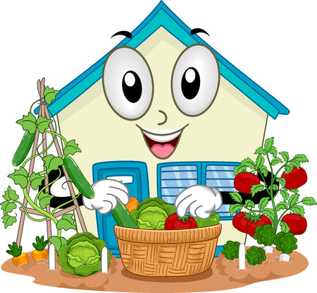 Illustration of a School Mascot Harvesting Vegetables from its Garden Stock Photo