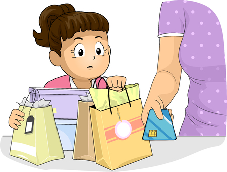 Illustration of Kid Girl Watching Her Mom Use Her Credit Card While Shopping