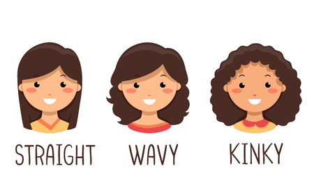 Illustration of Kid Girls with Straight, Wavy and Kinky Hair