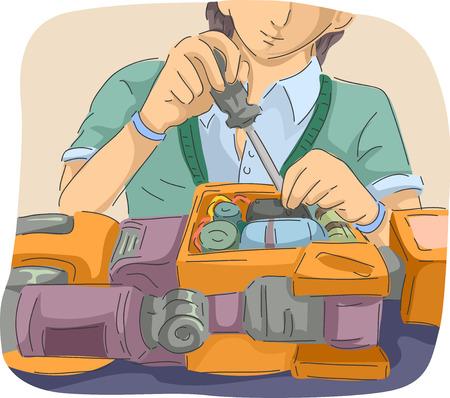 Illustratie van een man met schroef stuurprogramma sleutelen aan de binnenkant van een robot Stockfoto