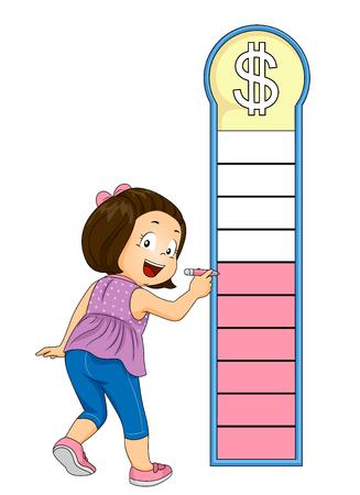그녀의 돈 목표 차트 마킹 및 음영 아이 소녀의 그림