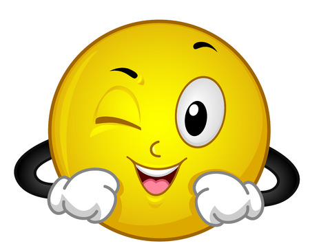 Illustration of a Yellow Smiley Winking His Right Eye