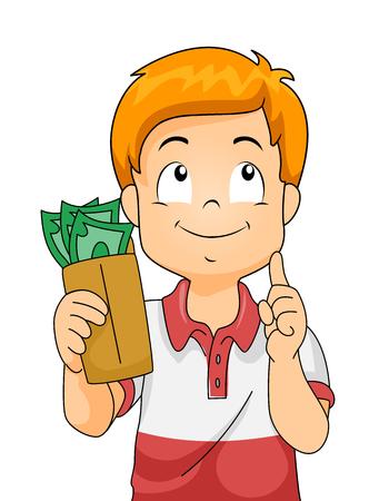 どこでそれを使うことを考えてお金の封筒を押し子供男の子のイラスト 写真素材
