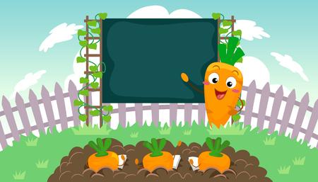 Illustration eines Lehrer Carrot Mascot vor der Klasse, die auf eine leere Tafel zeigt Standard-Bild - 86271004