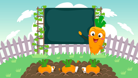 Illustration of a Teacher Carrot Mascot in front of the Class pointing at a Blank Blackboard