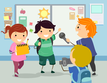 Illustration of Stickman Kids Doing a School Interview for their School Paper Stock Photo