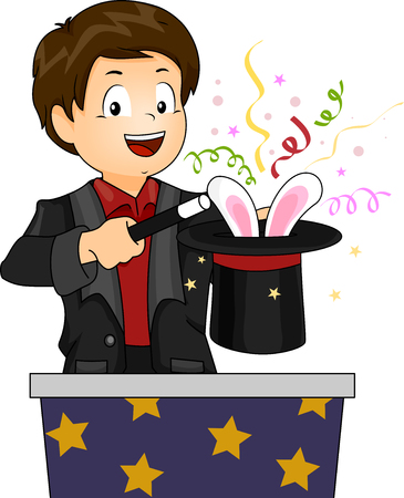 the performer: Illustration of a Little Boy in a Magician Costume Pulling a Rabbit Out of His Hat