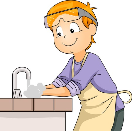 Illustration of a Little Boy in Apron and Safety Goggles Washing His Hands in a Laboratory Sink