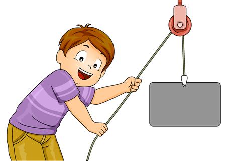 물리학에서 간단한 기계를 보여주기 위해 도르래를 당기는 아이의 그림