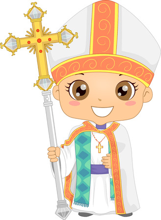 Bible Story Illustration of a Little Boy Role Playing a Bishop Wearing a White Stole and Holding a Staff with a Cross Mounted on Top