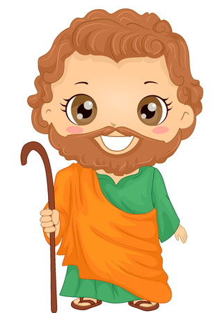 Bible Story Illustration of a Little Boy Role Playing Joseph Wearing a Tunic and Holding a Staff