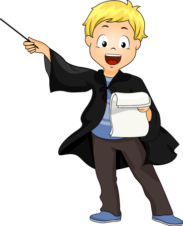 Illustration of a Kid Boy Wearing a Wizard Costume while Reading Script for Show