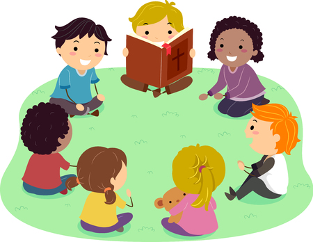 Illustration of Stickman Kids Sitting in Circle Outdoors Reading a Bible Imagens