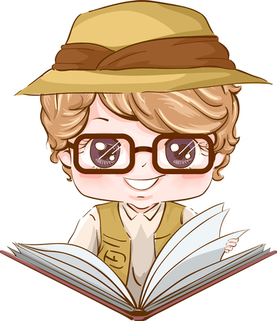 Illustration of a Little Boy in Glasses and Safari Gear Reading a Geography Book Stock Photo