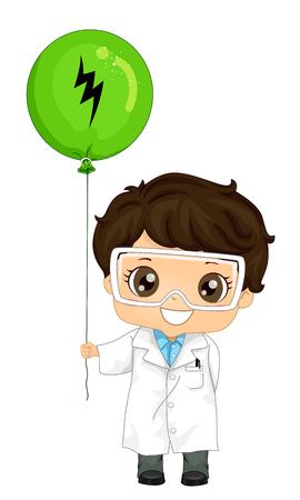 Ilustración de un niño vestido con bata de laboratorio y gafas sosteniendo un globo con el símbolo de un rayo. Física Demo Electricidad estática.