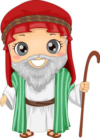 Bibbia Story Illustrazione di un ruolo di Little Boy Riproduzione di Abraham indossando una tunica e portando un bastone Archivio Fotografico - 87819706