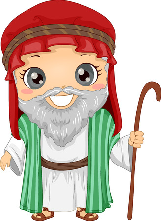 Bible Story Illustration of a Little Boy Role Playing Abraham Wearing a Tunic and Carrying a Staff