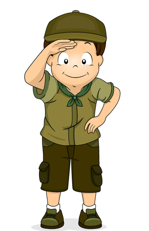 Illustration of a Young Boy Scout in Full Camping Gear Observing Something From a Distance