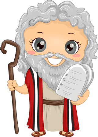 Bible Story Illustration of a Little Boy Role Playing Moses Wearing a Tunic and Carrying Stone Tablets Stock Photo
