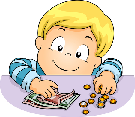 Illustration of a Cute Little Boy Counting Euros in Assorted Bills and Coins