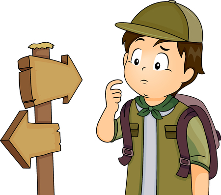 Illustration of a Little Boy in Full Camping Gear Looking Confused While Looking at a Pair of Road Markers Banco de Imagens