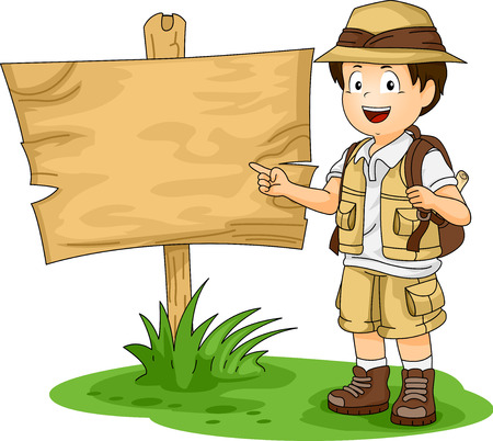 Illustration of a Little Boy in Full Safari Gear Standing Beside a Blank Wooden Board Фото со стока