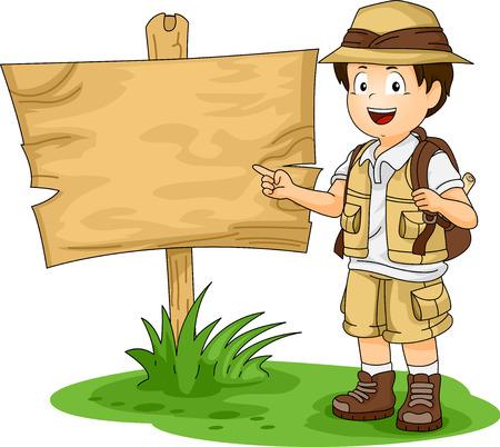 Illustration of a Little Boy in Full Safari Gear Standing Beside a Blank Wooden Board Stock Photo
