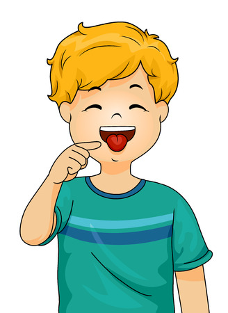 Illustration of a Little Boy Pointing to His Tongue with His Forefinger Stock Photo