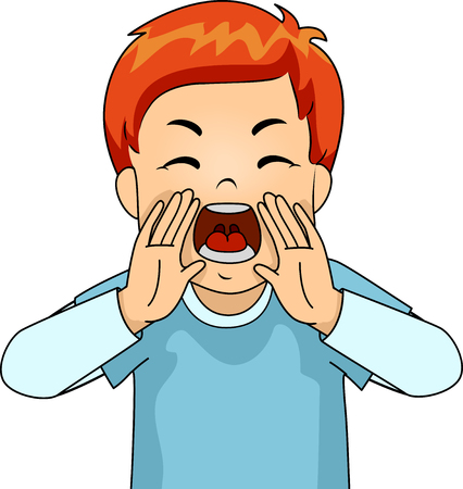 Illustration of a Young Male Redhead Yelling in Anger at the Top of His Lungs 스톡 콘텐츠
