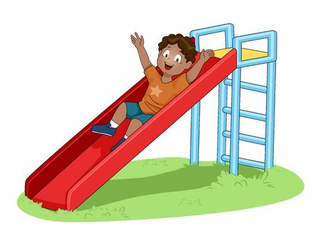 Illustration of a Little Boy Playing on a Slide to Demonstrate How Simple Machines Works Banco de Imagens