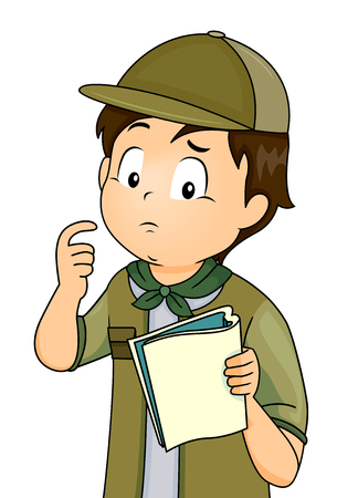 Illustration of a Little Boy in Full Camping Gear Looking Confused While Consulting His Notes
